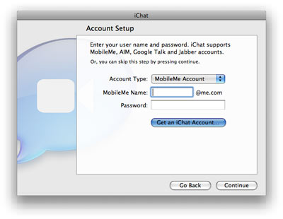 iChat - Account Setup