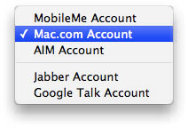 Choose Mac.com Account