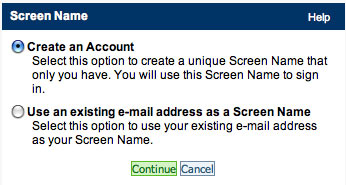 Screen Name - Create an Account