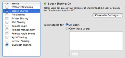 Enable Screen Sharing